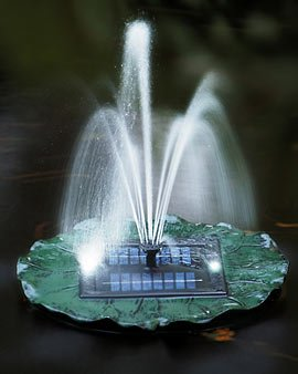 floating solar lily fountain with battery and led lights. Black Bedroom Furniture Sets. Home Design Ideas
