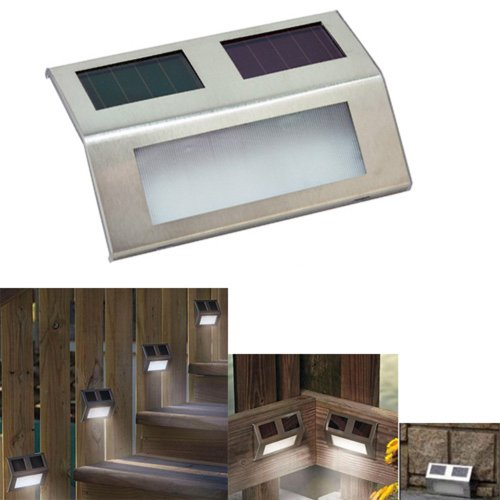 2 led solar wedge lights for stairways fence patio