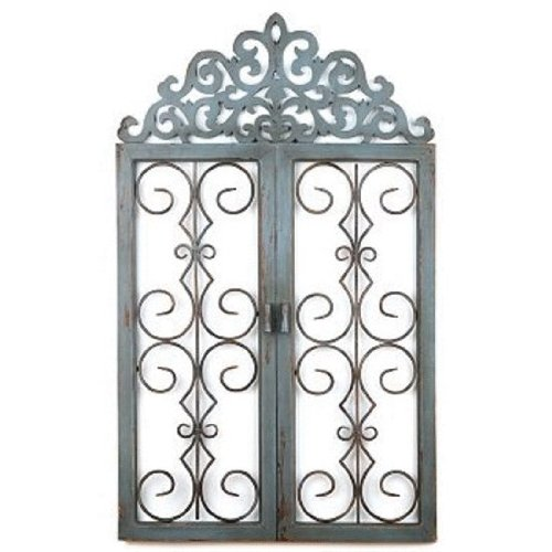 Wooden Gate Wall Decor : Rustic antique blue scrollwork wooden metal gate indoor
