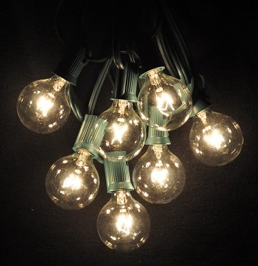 100 foot globe patio string lights set of 100 g40 clear. Black Bedroom Furniture Sets. Home Design Ideas