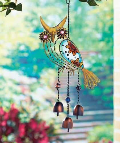 Owl Outdoor Led Wall Pack: KNLSTORE Country Wise Owl Whimsical Glass Wind Chime Bells