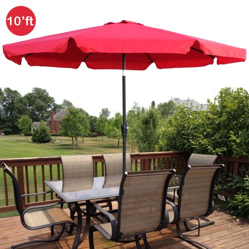 10ft Outdoor Patio Umbrella Aluminum W Tilt Crank Valance