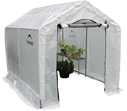 Peak Style Backyard Greenhouse with Shelving, 6 x 8 x 6 Feet
