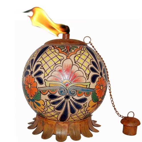 Mexican Talavera Clay Pottery Oil Lamp Tiki Torch With