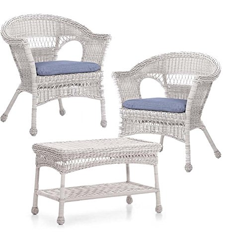 Easy Care Resin Wicker Chairs And Coffee Table Set, In