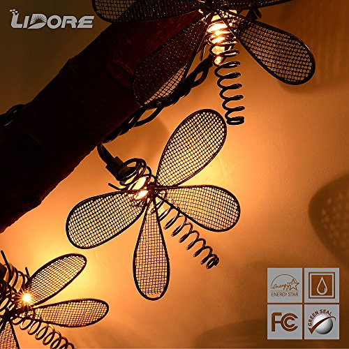 Metal Dragonfly String Lights : LIDORE 10 Counts Metal Dragonfly Patio String Light (Warm white) Landscape & Lighting