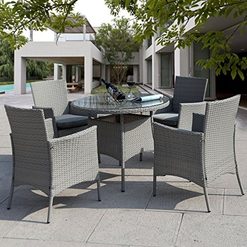 Giantex 5 Pc Patio Rattan Furniture Set Outdoor Backyard Dining Table And 4 C