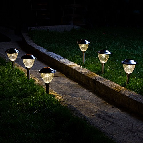 solar warm white led stainless steel path lights with garden stakes