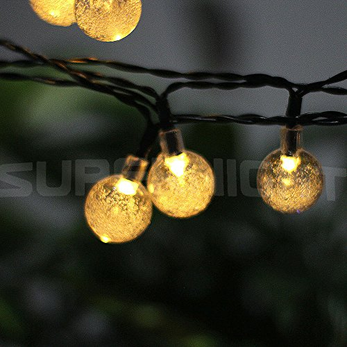 Solar Globe String Lights Outdoor : SUPERNIGHT Solar Globe LED String Lights 6 Meters 30 Leds Warm White Crystal Ball Patio Crytal ...