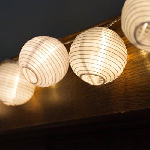 Sunniemart 20 Led Lantern Warm White String Light Solar Powered Globe String Lights Outdoor ...