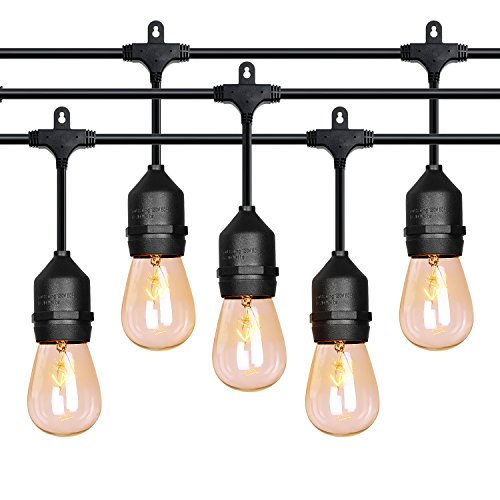 52 Ft Outdoor String Lights Commercial Grade Weatherproof