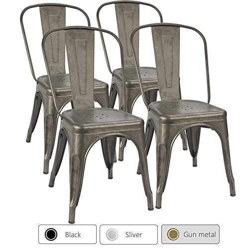 Furmax Metal Dining Chair Indoor Outdoor Use Stackable