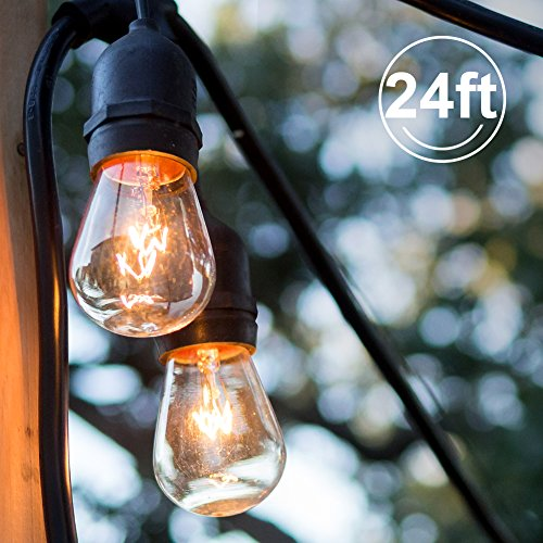 ADDLON Outdoor String Lights  Commercial Grade Weatherproof Lights  24 Ft  UL Listed Heavy