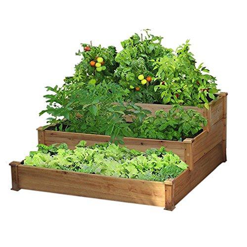 Yaheetech 3 Tier Wooden Elevated Raised Garden Bed Planter
