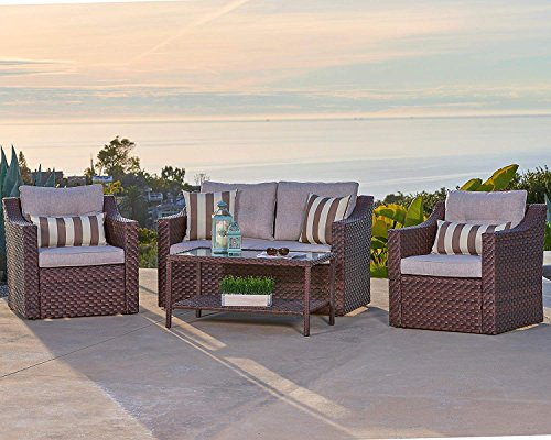 Solaura Outdoor Fully Woven 4-Piece Conversation Furniture