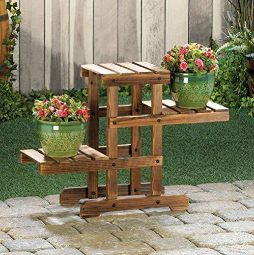 Tri Level Plant Stand Patio Wood Plant Shelf Rustic Wooden Plant